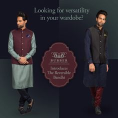 Too many wedding functions to attend this season?  Bubber - by Aanchal & Sanjana presents 'The Reversible Bandhi'.   The two distinct contrasting looks make it perfect to style either with a kurta for a traditional look or with a shirt and pant for an indo-western look.  Order yours today!  #reversible #bandhi #menswear #indianwear #bubbercouture