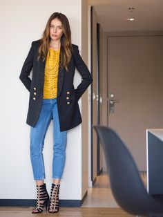 Hi Guys! Look 8 from our Balmain X H&M collaboration is an everyday outfit with a little touch of coolness absolutely perfect for a fashionista's working day. The jeans – bla… H&m Collaboration, Everyday Outfits, Balmain, Garage, Topshop, Blazer, Guys, Jackets, Women