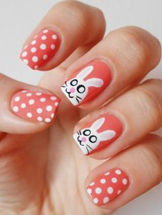 9 Best Easter Nail Designs : Polka dots and Easter Bunny: