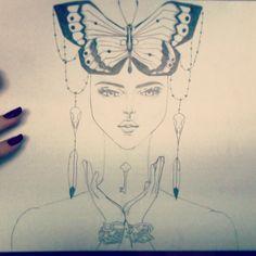 Work in progress Death Tarot Card Illustration #butterfly #tarot #death #illustration #workinprogress #drawing #face #portrait #ink #tattoo