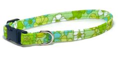 XS Dog Collar  Retro Flowers on Green  Size X Small by PawsnTails, $11.00