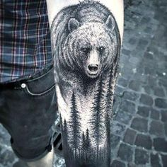 Bear and Forest Tattoo Idea