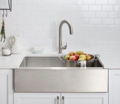 Kitchen Sink Remodel Kohler Strive Stainless Steel Apron Sink - In the market for a stainless steel kitchen sink? If not, here are some gorgeous ones that may make you change your mind. Best Kitchen Sinks, White Kitchen Sink, Farmhouse Sink Kitchen, Kitchen Sink Faucets, New Kitchen, Kitchen Decor, Farmhouse Decor, Kitchen Ideas, French Farmhouse