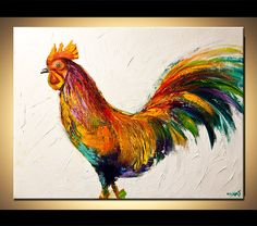 "Modern Art Poster on Photographic Paper - Here Comes the Rooster - 40""x30"" - Art by Osnat"