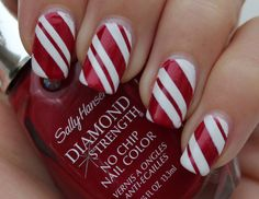 Candy Cane Nails love it I would have an accent nail of the winter wonderland sparkle