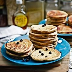 Peanut Butter Chocolate Chip Pancakes #foodgawker