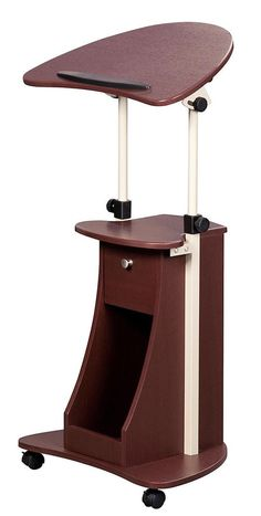 Adjustable Laptop Cart Rolling Computer Desk Mobile Storage Table Wood Stand #TechniMobili #Contemporary