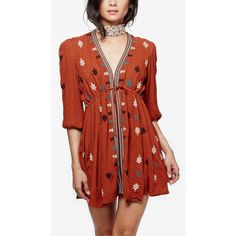 Free People Star Gazer Embroidered Peasant Dress ($90) ❤ liked on Polyvore featuring dresses, brown combo, embroidered dress, boho dresses, brown dress, star dress and boho chic dresses