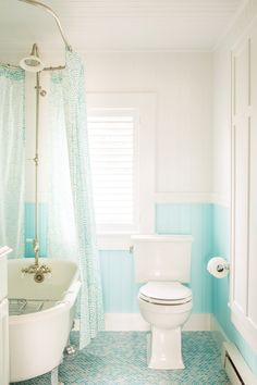 Turquoise and white bathroom
