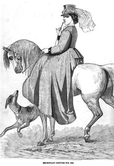 Ladies Of The 1860s: Peterson's Magazine for March 1862 Riding Habit of Dark Brown Cloth. The skirt should be of one yard and a quarter in length when hemmed. The body fits closely to the figure with square skirts behind. Coat sleeve fitting the arm loosely but closed at the wrist with a velvet cuff. Small linen collar and neck tie; brown Swedish gloves; low crowned hat and brown veil