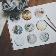 Instagram media by artcrop - #vscocam heres all the moons i painted: moon, io, europa, callisto, ganymede, titan, enecaladus, rhea, mimas. i really do love their names!  do comment and follow for support! :) #watercolour #draw #art #artist #moon #vsco #paint