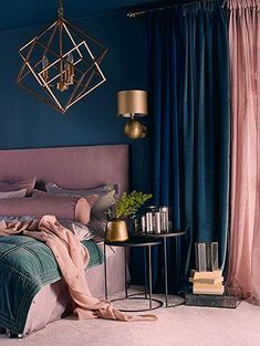 ▷ 1001 + impressive examples of the modern midnight blue bedroom Blue Bedroom Decor, Bedroom Green, Bedroom Colors, Living Room Decor, Bedroom Ideas, Master Bedroom, Home Interior, Interior Design, Vintage Bathroom Decor
