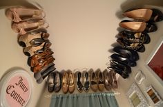 Hang molding near the ceiling of a closet for your non-seasonal shoes. | 33 Ingenious Ways To Store Your Shoes