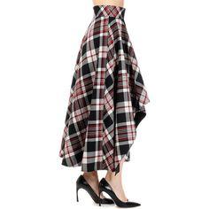 ALEXANDER MCQUEEN Virgin Wool Asymmetric Cut skirt (54.670 RUB) ❤ liked on Polyvore featuring skirts, black, checkered skirt, zipper skirt, alexander mcqueen skirt, alexander mcqueen and checked skirt