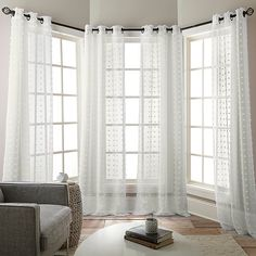 Dress your windows in charming style with the Olly Grommet Sheer Window Curtain Panels. The sheer design boasts an allover fringe pattern and hangs on bronze grommets for added elegance and for easy installation. Bay Window Bedroom, Large Window Curtains, Bay Window Living Room, Panel Curtains, Curtain Panels, Curtains For Picture Window, Curtains For Long Windows, Curtains With Plantation Shutters, Bay Window Decor