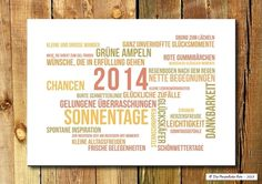 Was wünscht du dir eigentlich zum neuen Jahr? Wie wäre es mit Sternschnuppen, Sonnentagen und vielen glücklichen Zufällen? :) - Druck/Wandbild/Print: Neujahrswünsche in Bunt