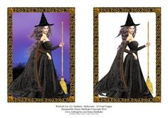 Witch Cat 2 Samhain Halloween A5 Card Topper on Craftsuprint - Add To Basket!