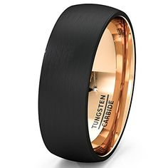 Mens Wedding Band Black Rose Gold Tungsten Ring Brushed Surface Center Dome 8mm Comfort Fit(10.5)