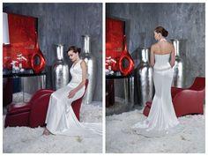 Satin Halter Applique Beading Chapel Train Mermaid Wedding Dress