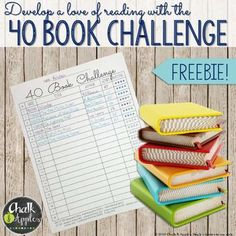"FREE tracking sheet for the 40 Book Challenge! Encourage students to ""just read"" 
