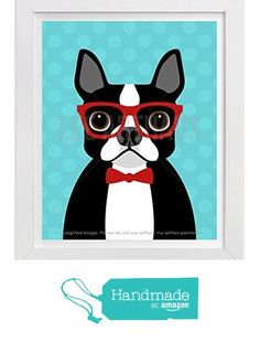 "26D Boston Terrier Dog with Red Bow Tie Wall Art Print by Lee ArtHaus (One UNFRAMED Print), 8"" x 10"", 11"" x 14"" or 12"" x 16"" from LeeArtHaus http://www.amazon.com/dp/B018BNH9NI/ref=hnd_sw_r_pi_dp_dJr2wb1M7GBQA #handmadeatamazon"