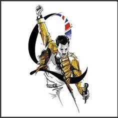 Freddie Queen Freddie Mercury, Freddie Mercury Tattoo, Queen Banda, Freedy Mercury, Queen Drawing, Rock Poster, Queens Wallpaper, Queen Tattoo, Queen Art