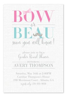 Bow or Beau Gender Reveal Shower Invitation by Invitation Consultants
