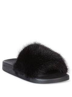 GIVENCHY Mink Fur & Rubber Slides. #givenchy #shoes #slides