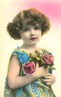 young girl, tinted photograph