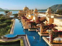 The Oberoi Udaivilas in Udaipur, India, has a gorgeous pool that guests can swim in directly from their private rooms.