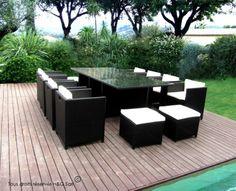 Salon de jardin 12 places encastrables noir