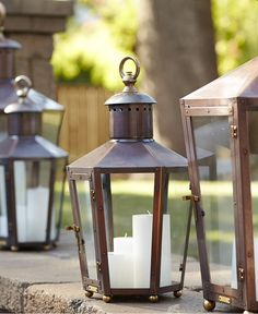 Keep outdoor spaces warm and illuminating with the glow of multiple candles. The Rault Pool House lantern can accommodate several candles or even LED candles. #bevolo #lanterns