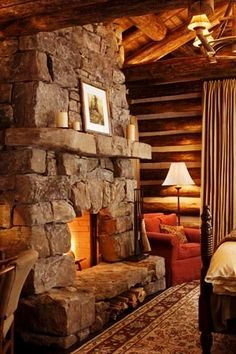 Diy Outdoor Fireplace, Cabin Fireplace, Brick Hearth, Colorado Ranch, Stone Fireplaces, Getaway Cabins, Fire Places, Mountain Homes, Cabin Fever