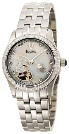 Bulova Women's 96R122 Diamond Accented Automatic Watch, (bulova, ladies diamond watch, ladies watch, watches, dress watches)