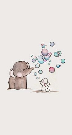 Soap bubbles, one rabbit and his elephant friend cute art, elephant phone Illustration Mignonne, Cute Illustration, Elephant Illustration, Cute Backgrounds, Cute Wallpapers, Art Mignon, Soap Bubbles, Illustrations, Easy Drawings