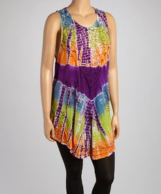 Another great find on #zulily! Orange & Green Tie-Dye Embellished Sleeveless Tunic - Plus #zulilyfinds