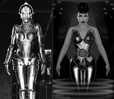 Metropolis, retro-futuristic, sci-fi movie, cyborg girl, robot girl, futuristic clothing