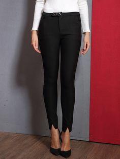 Shop Skinny Leg Pants - Black Plain Slit Spandex Casual Skinny Leg Pant online. Discover unique designers fashion at StyleWe.com.