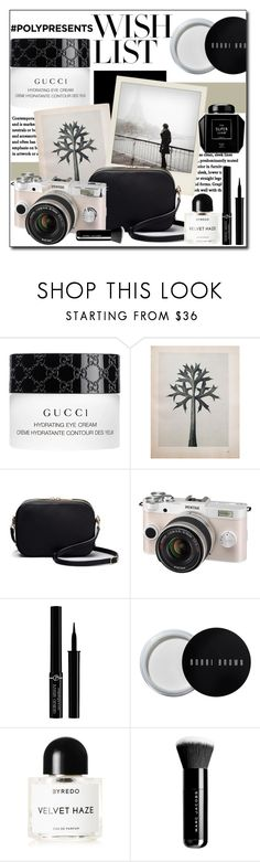 """""""#PolyPresents: Wish List"""" by polybaby ❤ liked on Polyvore featuring Gucci, Polaroid, Pentax, Giorgio Armani, Bobbi Brown Cosmetics, Byredo, Marc Jacobs, WishList, Beauty and contestentry"""