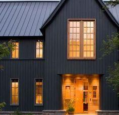 Exterior Siding - Iron Ore with black metal roof Log Cabin Exterior, White Farmhouse Exterior, Black House Exterior, House Paint Exterior, Exterior Siding, Exterior House Colors, House Siding, Facade House, Black Metal Roof