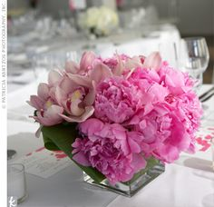 Centerpiece Ideas : Orchid And Peony Centerpiece