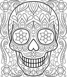 Free Sugar Skull Coloring Page by Thaneeya McArdle  Davlin Publishing #adultcoloring