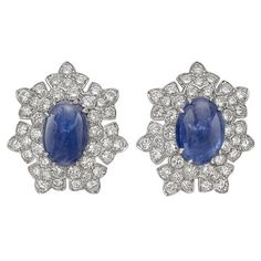 David Webb Sapphire Diamond Platinum Cluster Earclips | From a unique collection of vintage clip-on earrings at https://www.1stdibs.com/jewelry/earrings/clip-on-earrings/