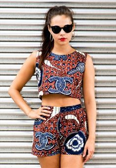 AFRICAN WAX PRINT MATCHING TWO PIECE OUTFIT SHORTS & TOP