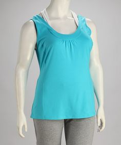 Take a look at this Aqua Blue Plus-Size Tank by Rainbeau on #zulily today!$14.99, regular 22.00