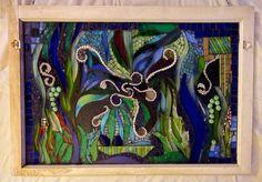 Mixed Media Glass Mosaic Window by KKMosaics on Etsy, $375.00