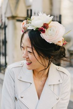 Romantic Updo with Floral Crown