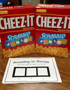 Use Scrabble Cheez-its to practice making CVC words! So simple & fun for the kids