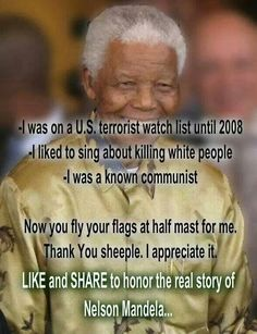 Only those who were part of the struggle will understand what Madiba did and why. He was a freedom fighter not a terrorist! The Ugly Truth, Know The Truth, Half Mast, American Freedom, Birth Certificate, Declaration Of Independence, Nelson Mandela, Deceit, We The People