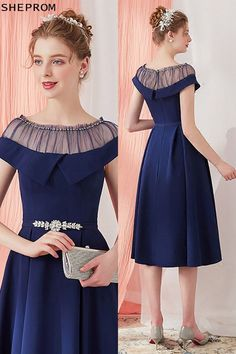 Shop Vintage Navy Blue Homecoming Party Dress Knee Length with Belt online. SheProm offers formal, party, casual & more style dresses to fit your special occasions. Trendy Dresses, Elegant Dresses, Vintage Dresses, Beautiful Dresses, Short Dresses, Satin Dresses, Midi Dresses, Fashion Dresses, Prom Dresses
